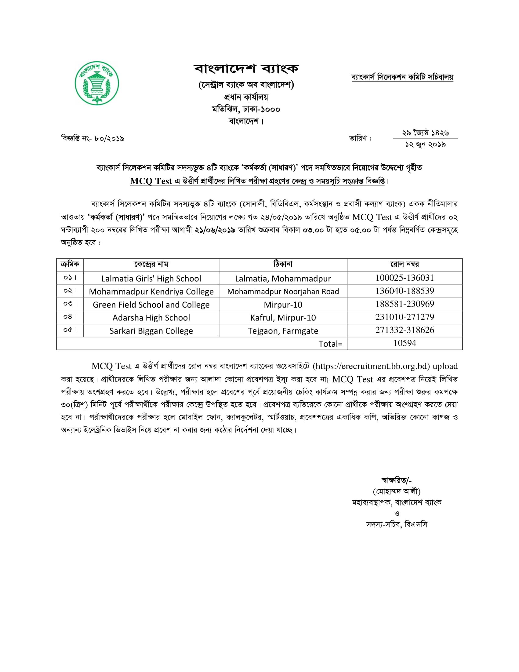 Combined 4 Bank Officer General Written Exam Center List & Date and Time